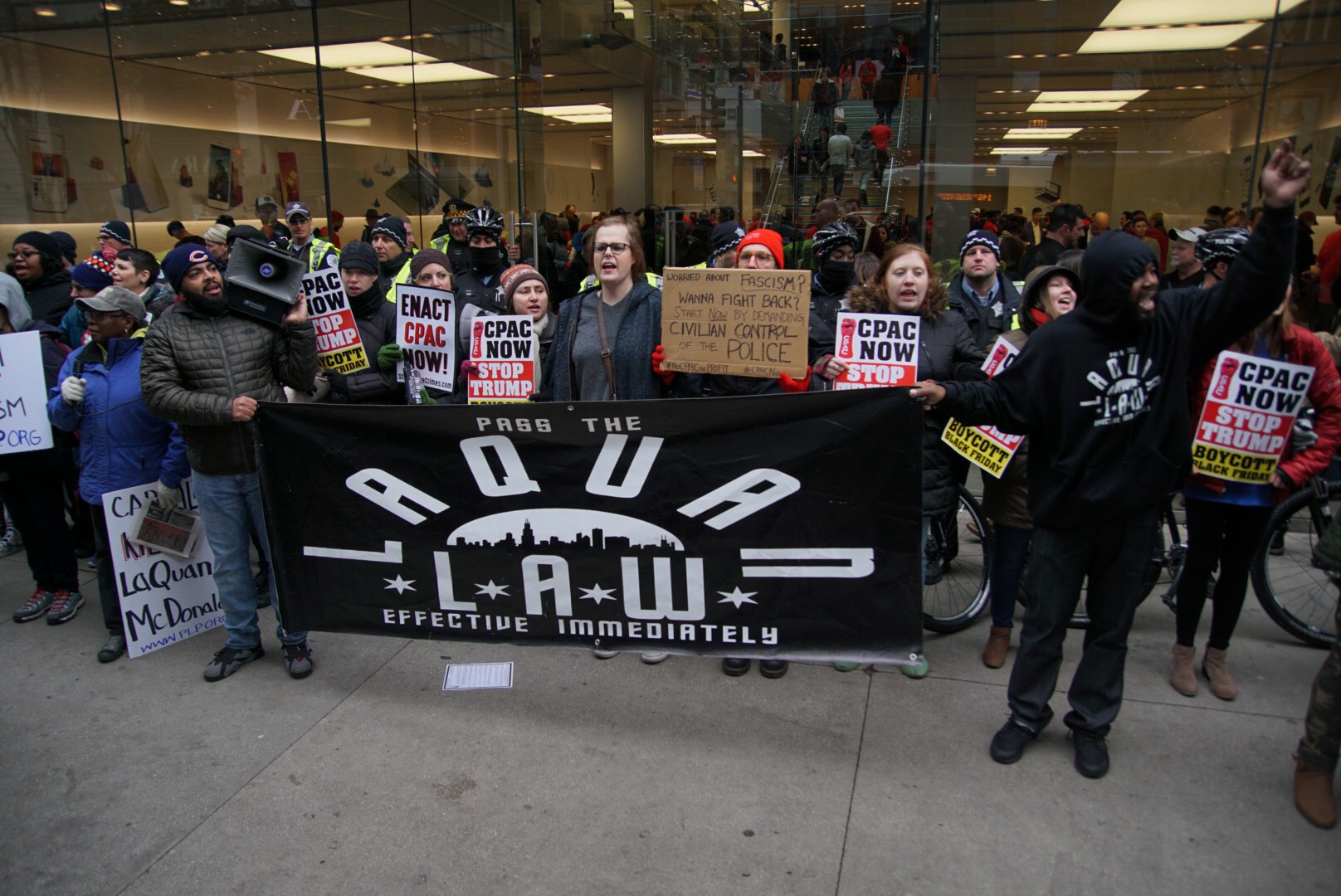 Activists at the Black Friday march also called for the state legislature to pass the Laquan McDonald Act, also known as the Laquan Law.