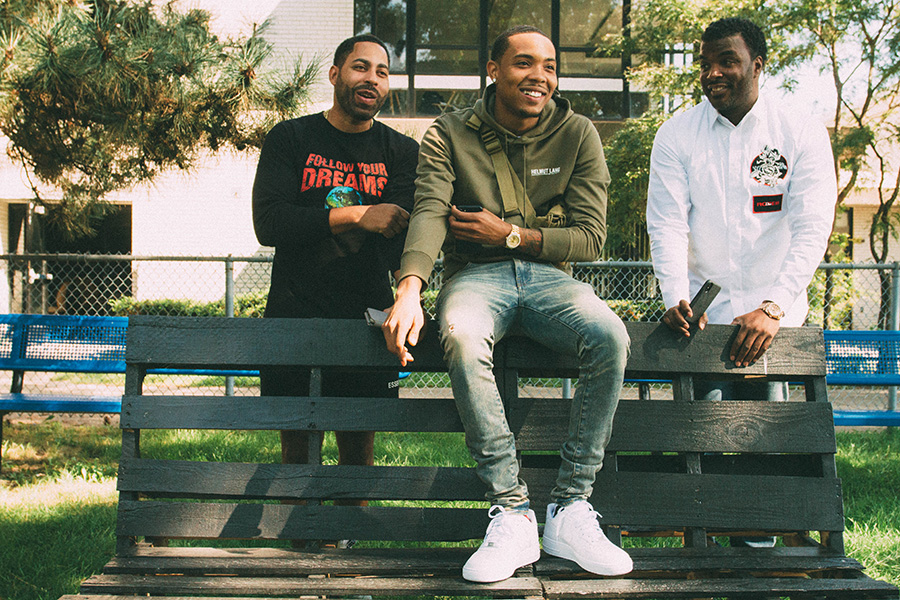 """G Herbo on the Overton campus with Machine Entertainment Group principals Mikkey Halsted (left) and Joseph """"JB"""" Bowden"""