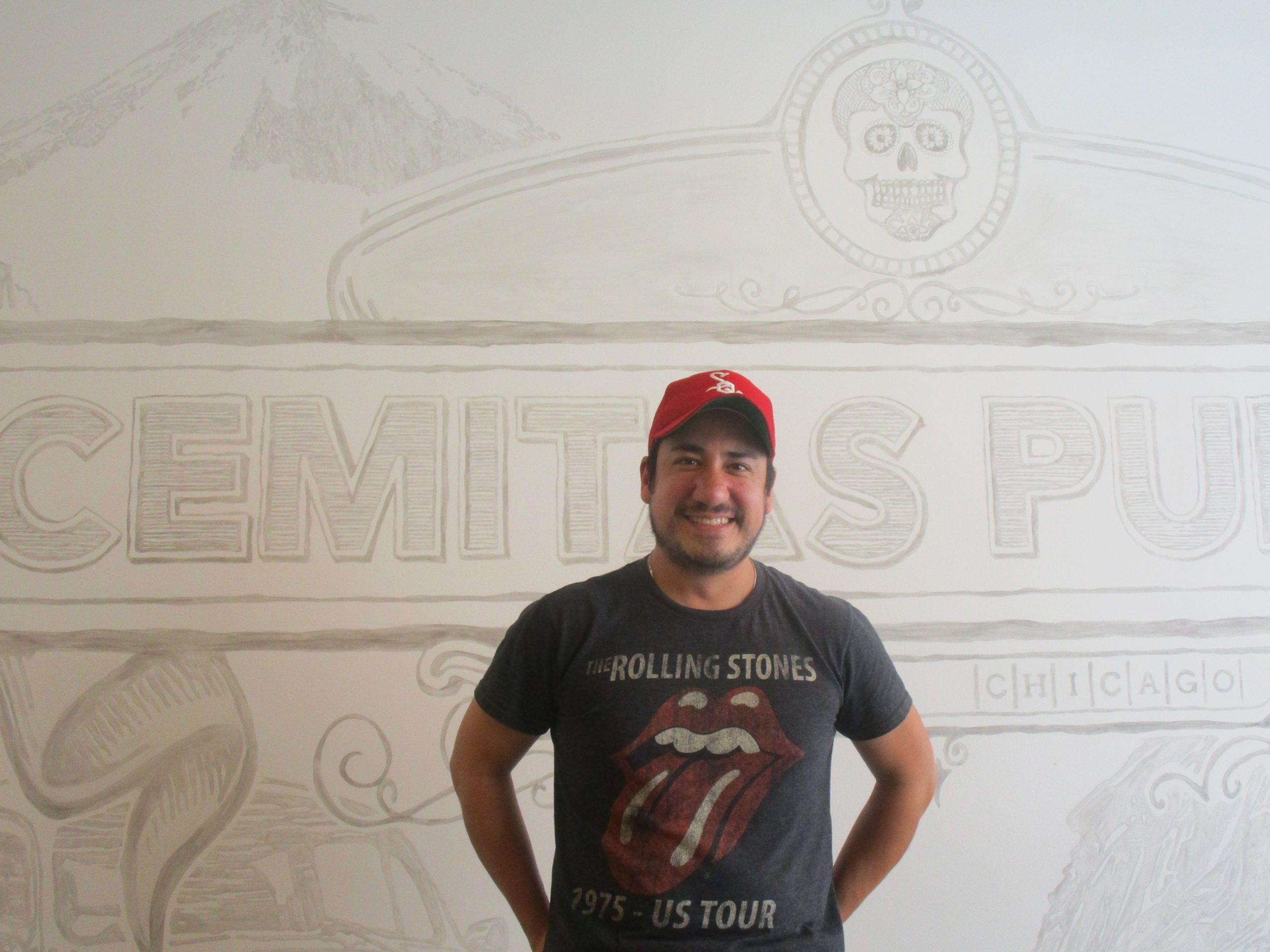 Tony Anteliz at the Fulton Market Cemitas Puebla