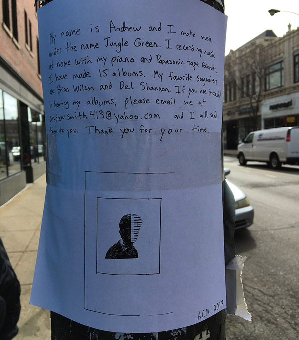 One of Smith's flyers, spotted on Milwaukee near Diversey on March16, 2018