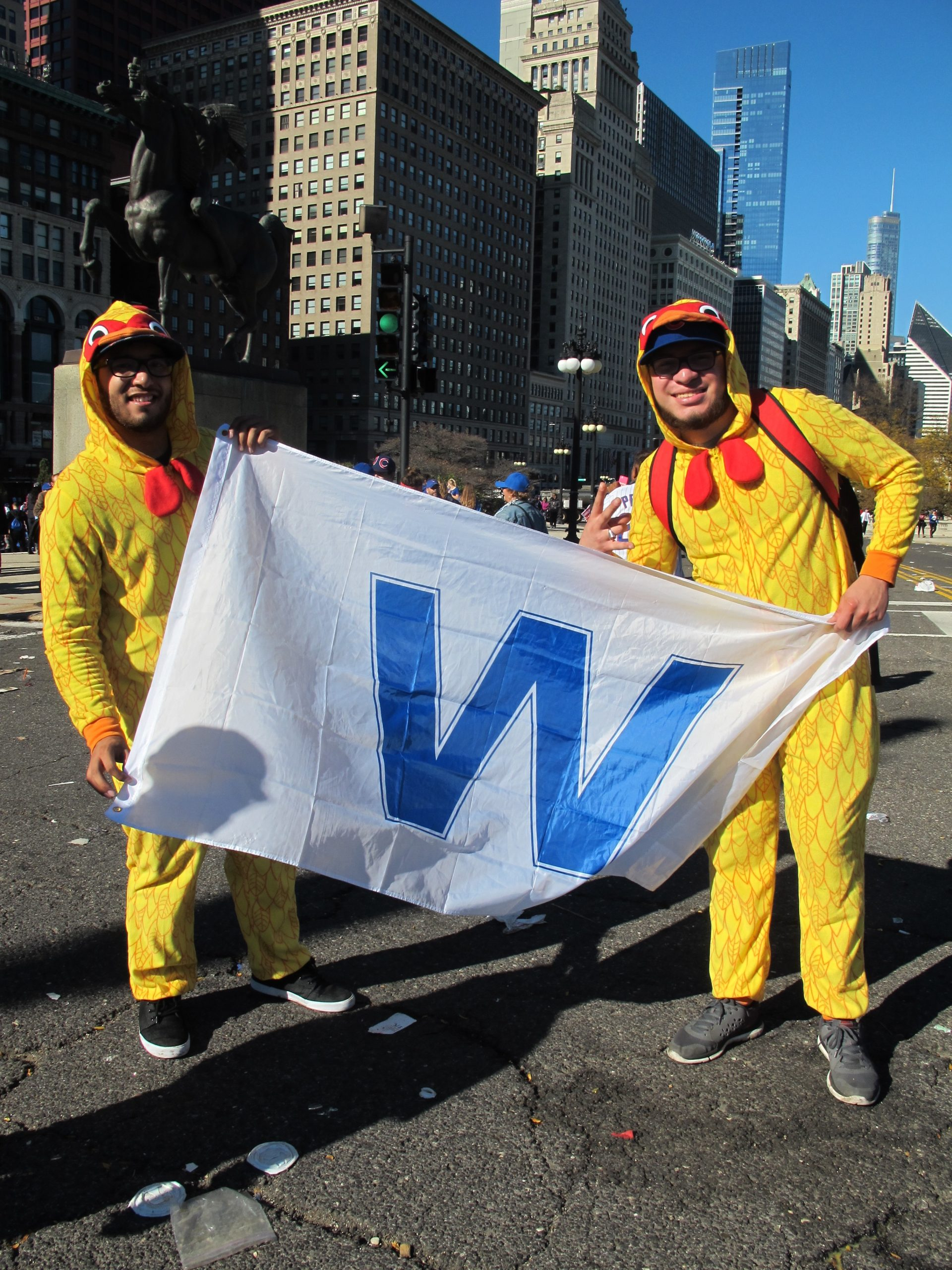 Now that the Cubs have won, Arthur Sandoval and Aaron Bueno believe that chickens will fly.