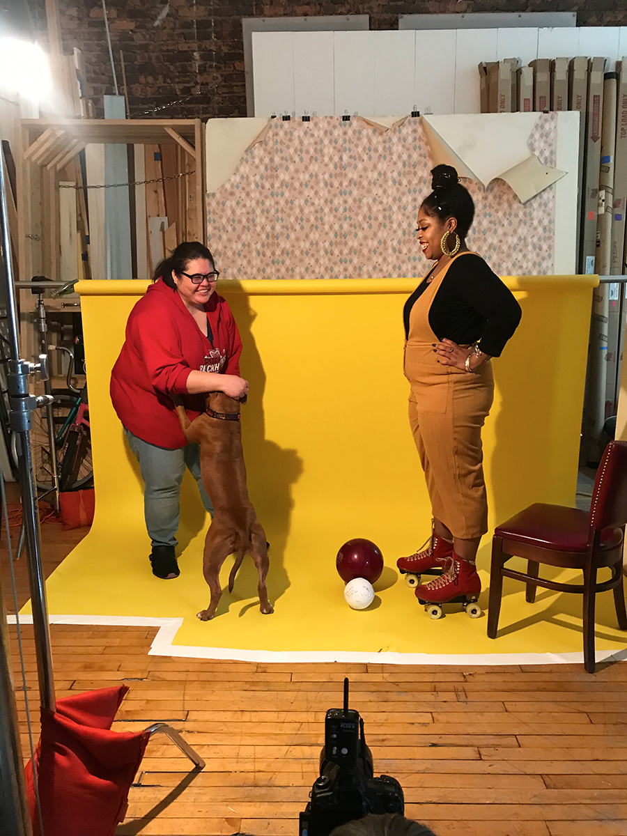 <i>Reader</i> listings coordinator Salem Collo-Julin preps Patti the dog for her Sports & Rec photo shoot with Janaya.