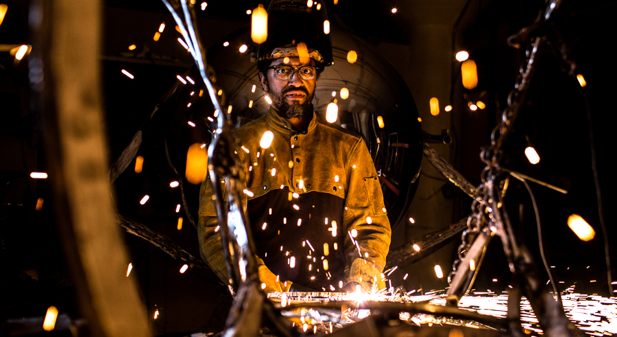 """Sculptor Garland Martin Taylor is one of seven male artists of color featured in """"Inspired by Social Issues."""""""