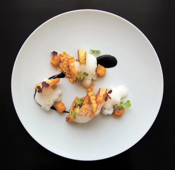 Deer Isle Shrimp, cauliflower, cuttlefish noodles, chorizo, marcona almond, fried spoon bread