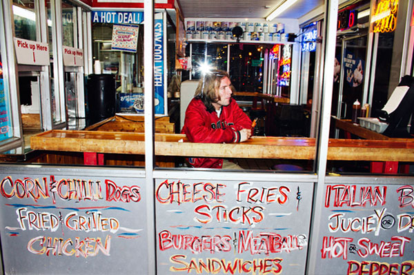 Jimmy Whispers enjoys a dollar corn dog at the Tastee Freez near Armitage and California. On <em>Chic-a-Go-Go</em> he once lip-synched using a corn dog as a microphone.