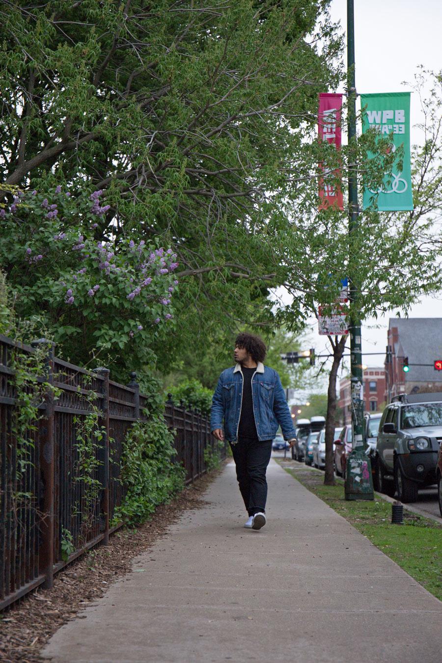 Purp walks along Damen in Wicker Park.