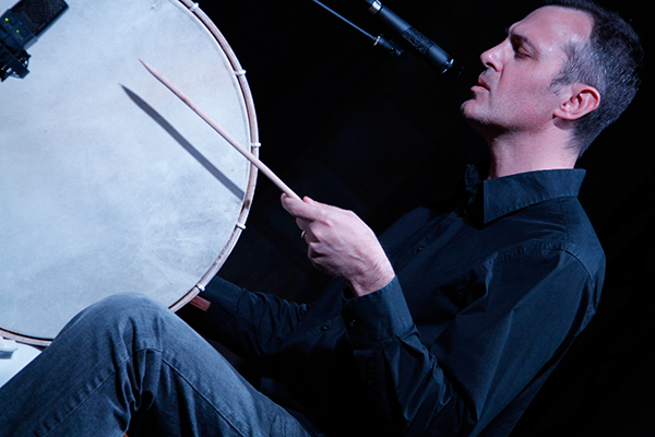 Percussionist Jon Mueller performs at Issue Project Room in New York.