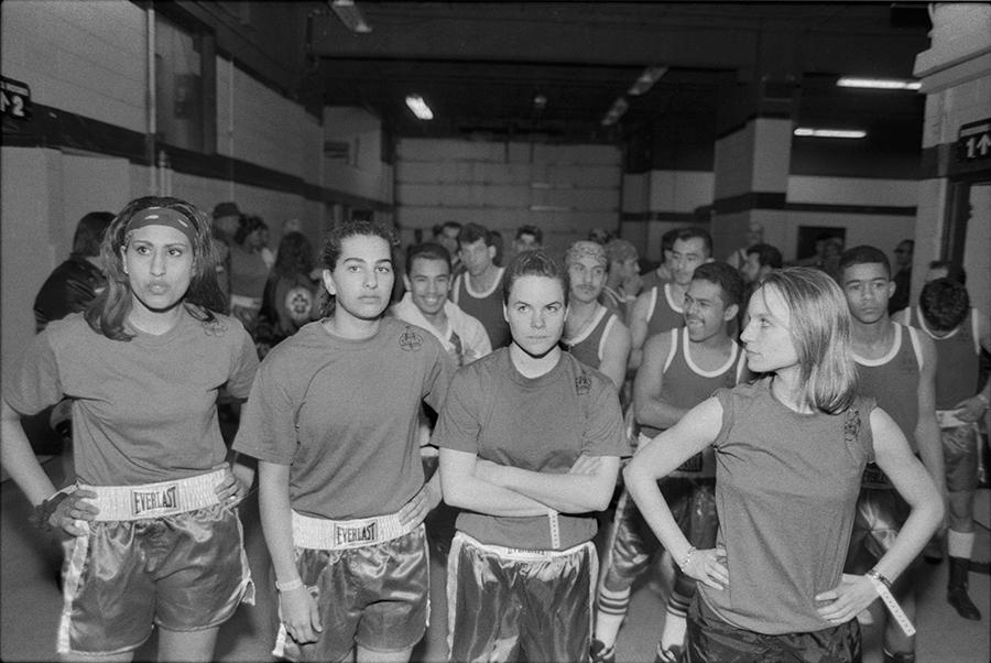 <b><i>Boxer's Introduction</i>—Sima Patel, Sarah Lahalih, Meghan Jada, Mary Ann Zoellner of the Tough Enough boxing club at the finals in Rosemont, 1994<br/> By Jon Randolph</b>