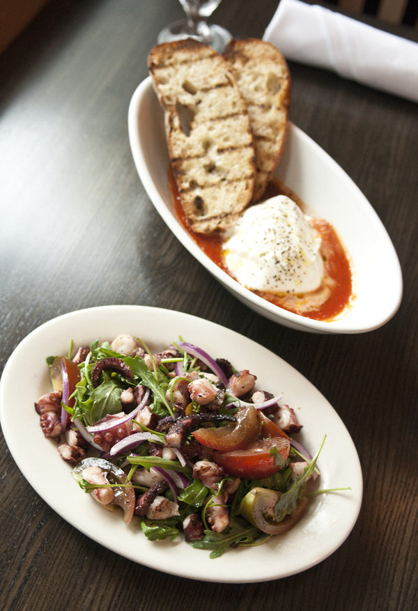 The grilled octopus is a highlight on the hot-appetizers menu, which also includes baseball-sized burrata imported from Italy.
