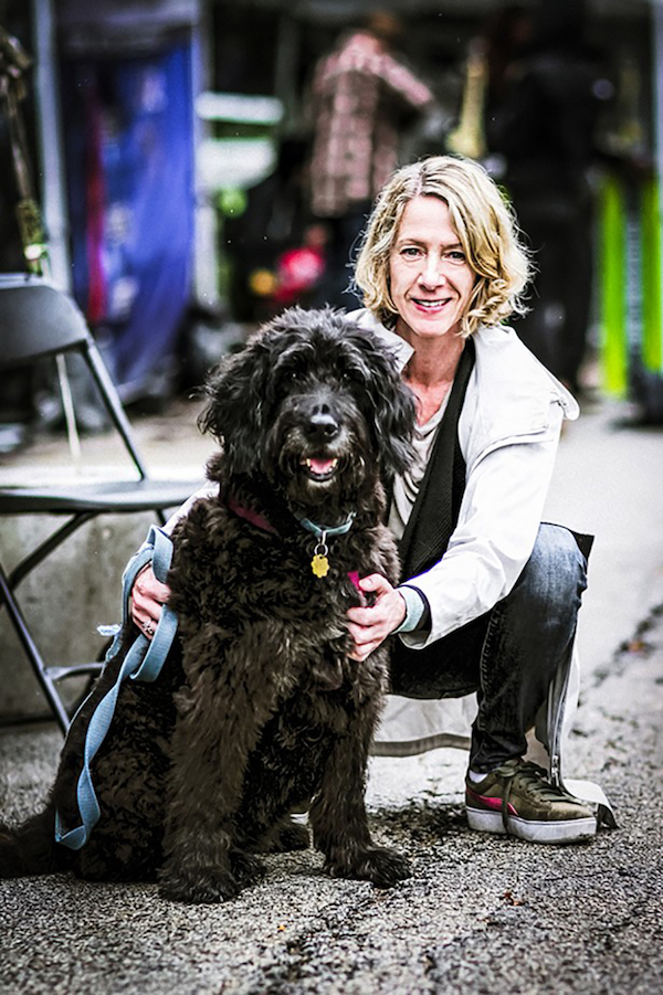 Hyde Park Jazz Festival executive and artistic director Kate Dumbleton at last year's event with her dog Blue