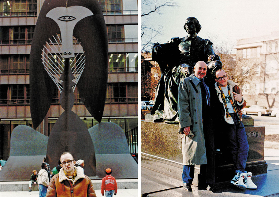 Zucker and Haring in '89; Haring with Daley Plaza's Picasso