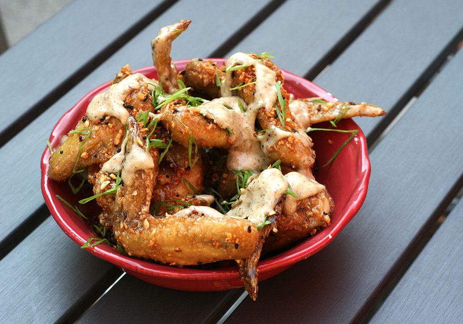 Fish-sauce-caramel wings with ant-egg crumble and ant-egg mayo