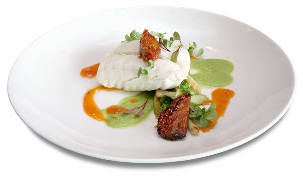 Alaskan halibut with sun-dried tomatoes, four ways
