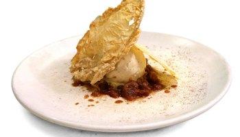 Chicory ice cream with coffee-chicory granita and fried tofu skins