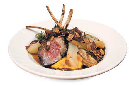 Coffee-rubbed rack of lamb with vegetables and lamb-coffee jus
