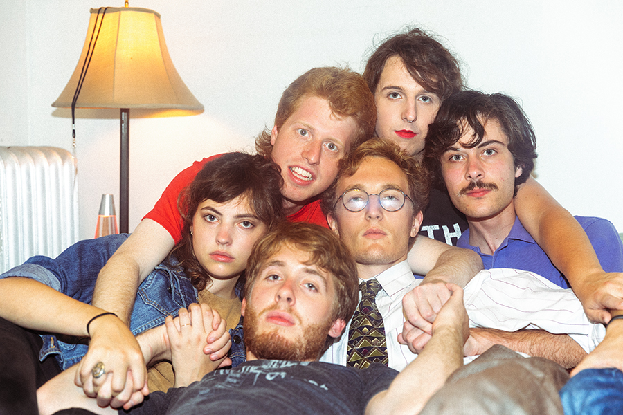 The current members of Jungle Green, clockwise from the top of the pile: Mattie McCall, Adam Miller, Adam Obermeier, Alex Heaney, Emma Collins, and Andrew Smith