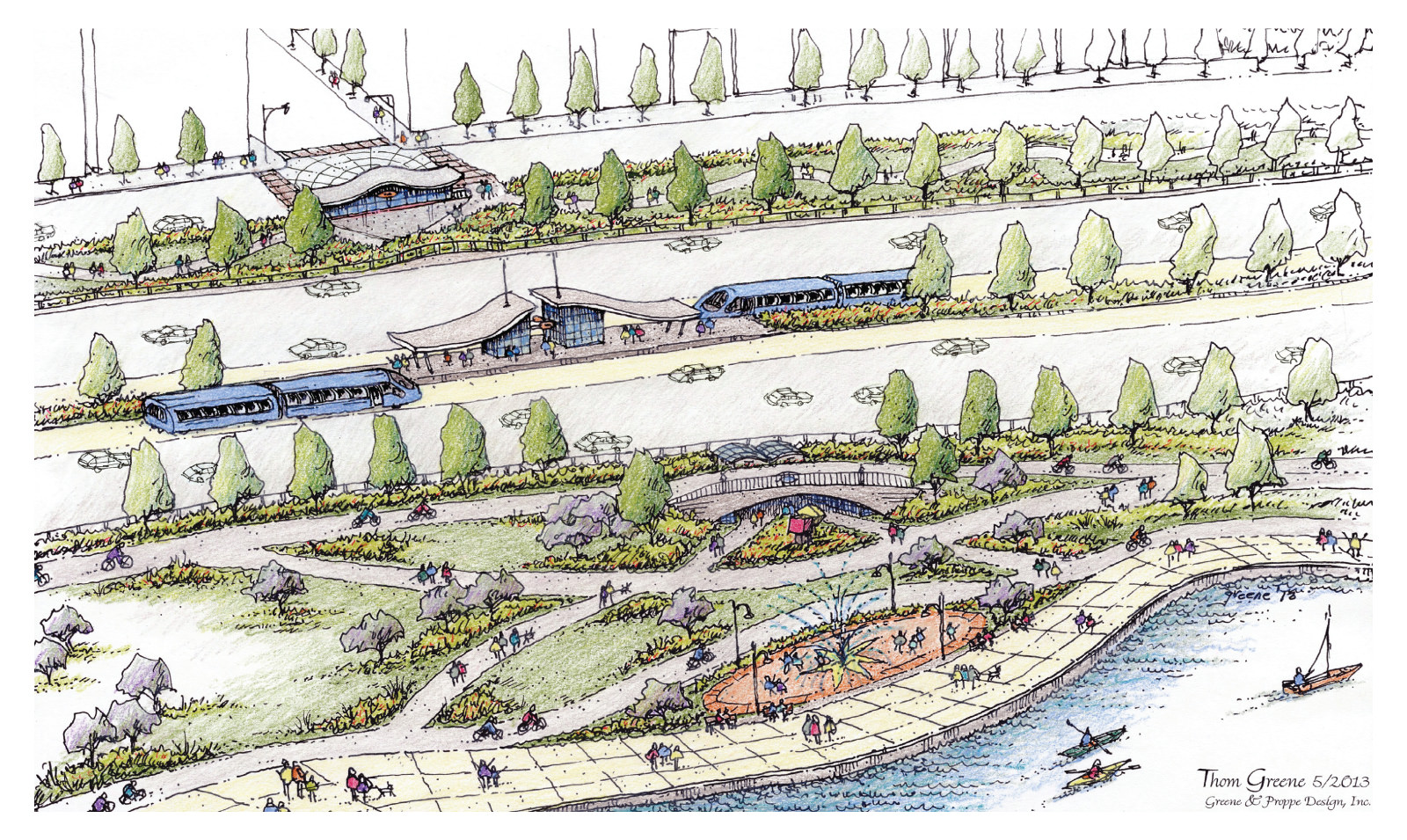 A vision of North Lake Shore Drive with rapid transit corridors and separated walking and biking paths published by 15 local civic organizations in July 2013.