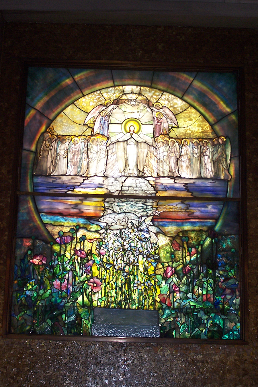 One of the Tiffany windows in the Wade Chapel in Lake View cemetery in Cleveland