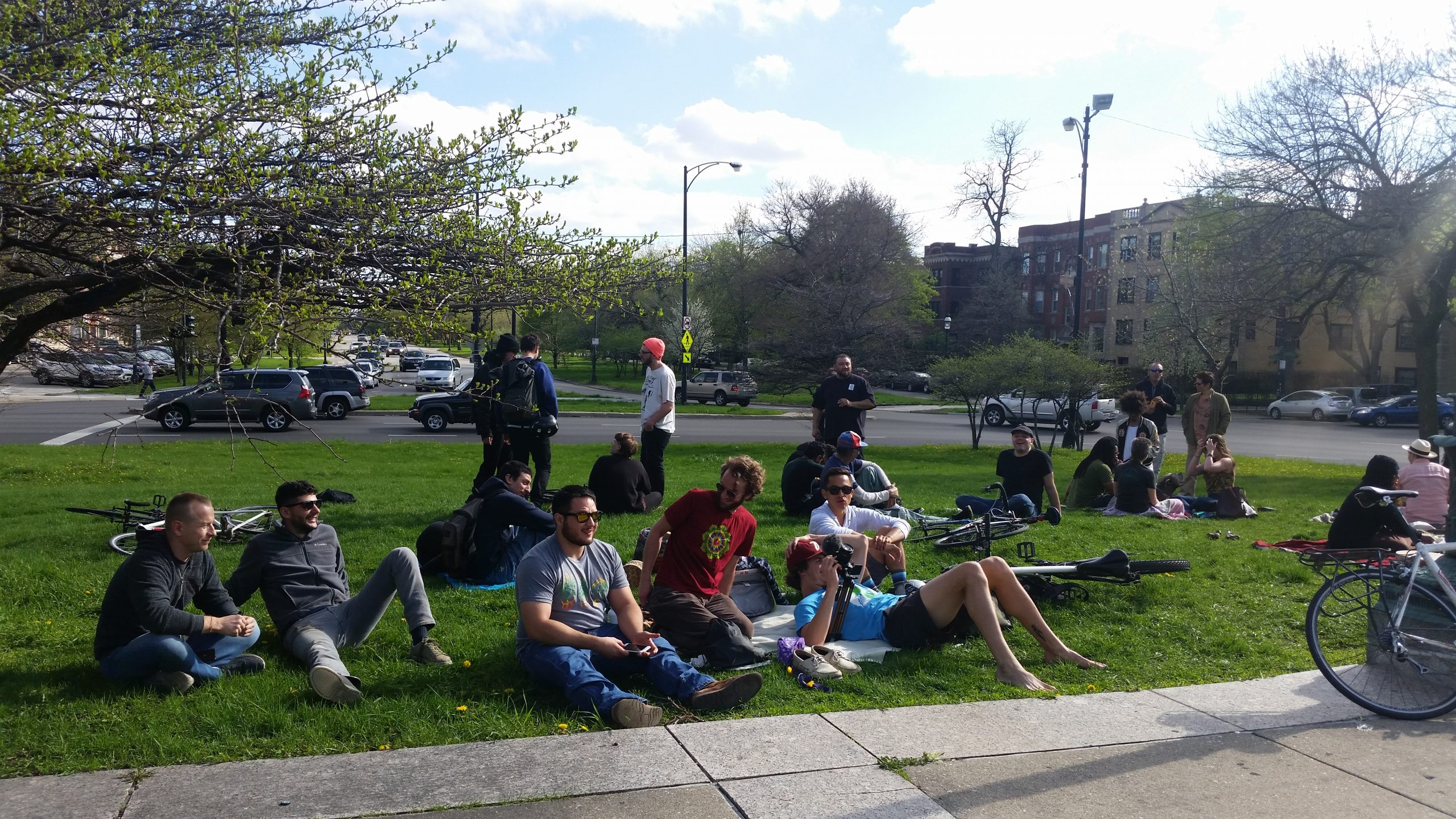Participants at the Logan Square smoke out