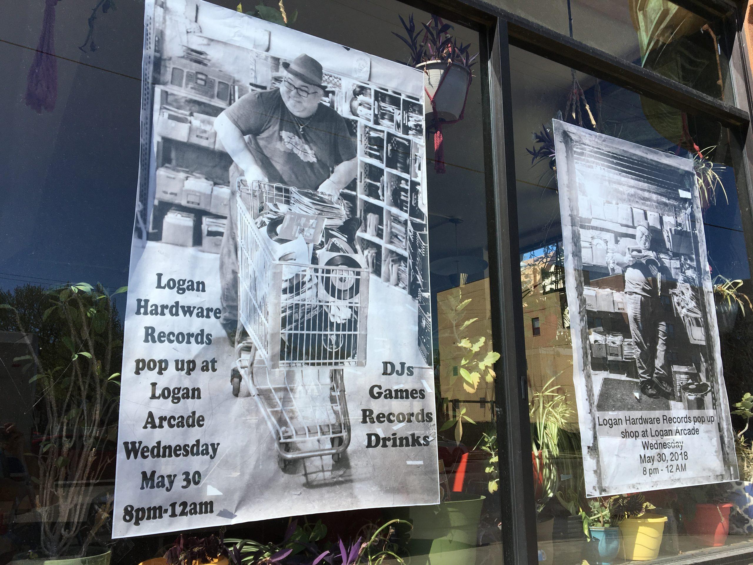 Promotional posters for Logan Hardware's upcoming pop-up shop at Logan Arcade featuring shop employee and DJ Jivan Ivan.