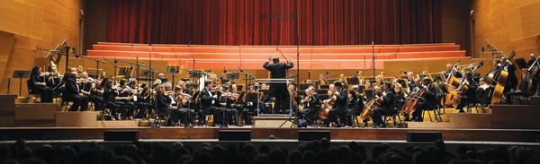 The Lyric Opera orchestra performing in Millennium Park