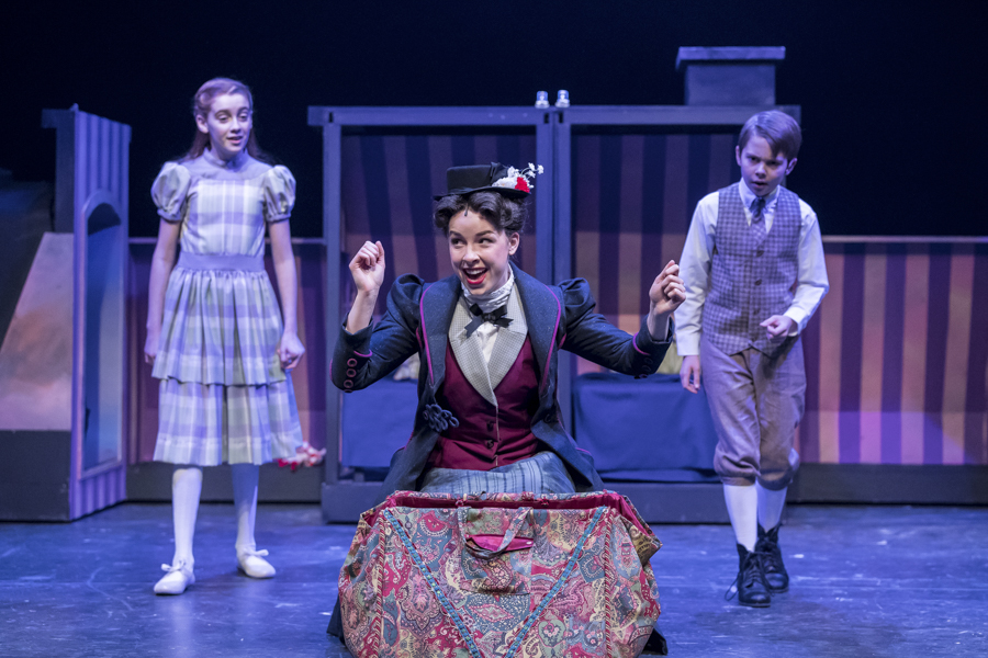 Pearle Bramlett, Nicole Armold, and Casey Lyons in the Mercury Theater's <i>Mary Poppins</i>
