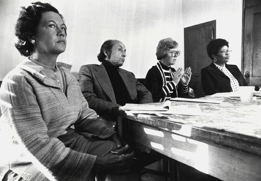Mary Powers, left, with members of Alliance to End Repression and Citizens Alert in 1977