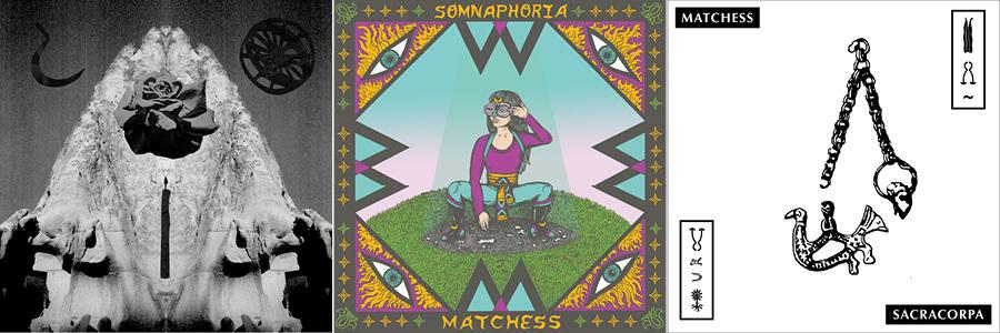 The three albums in the Matchess Trilogy, from left: <i>Seraphastra</i>, <i>Somnaphoria</i>, and <i>Sacracorpa</i>