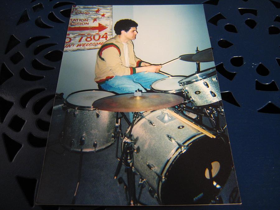 Matthew Rivera plays drums at Ibrahem Hasan's house, circa 2004.