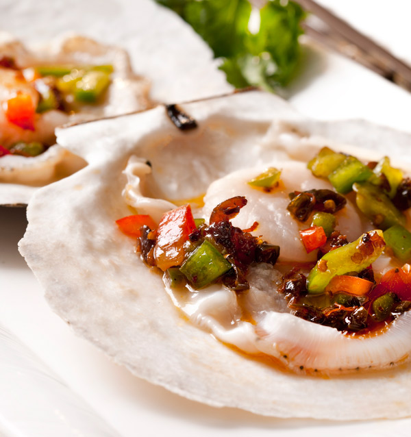 Steamed live scallops in XO sauce at Minghin Cuisine