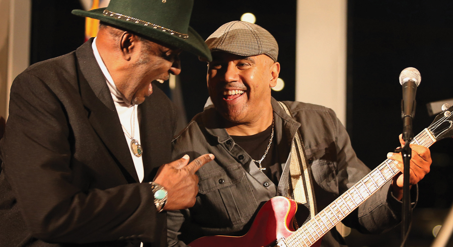 """Ronnie Baker Brooks (right) with Eddy """"the Chief"""" Clearwater"""