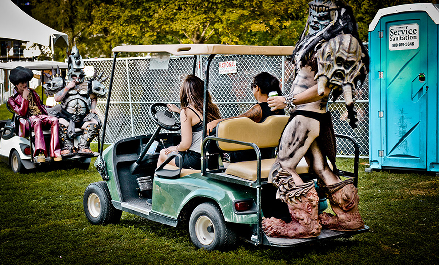 Service Sanitation provided porta-potties for Riot Fest in 2016. Surprisingly, the members of Gwar did not involve this one in their golf-cart demolition derby.