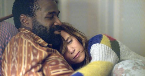 Tunde Adebimpe and Kristen Wiig in <i>Nasty Baby</i>
