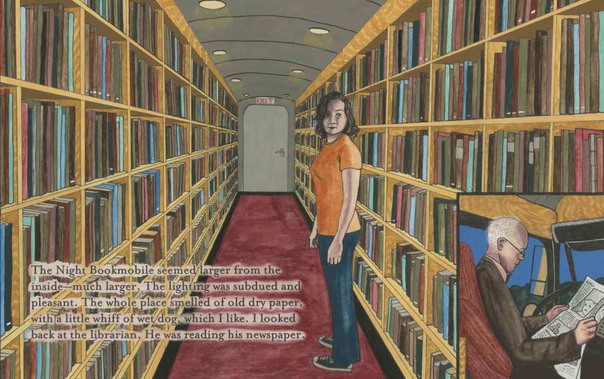 """Detail from Audrey Niffenegger's """"The Night Bookmobile"""""""