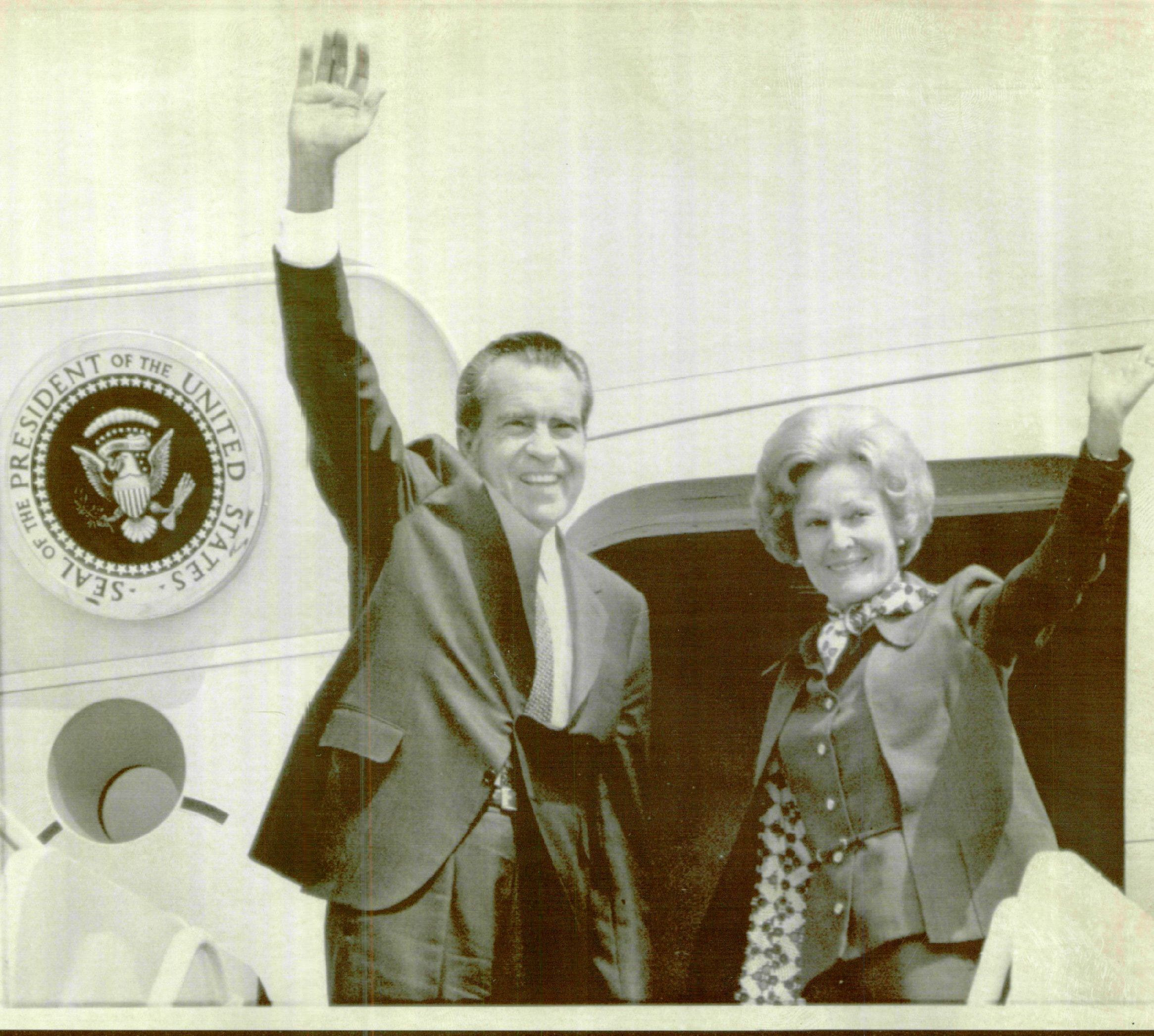 Then-president Richard M. Nixon and First Lady Pat Nixon wave from the ramp of Air Force One during a 1974 trip to Phoenix.