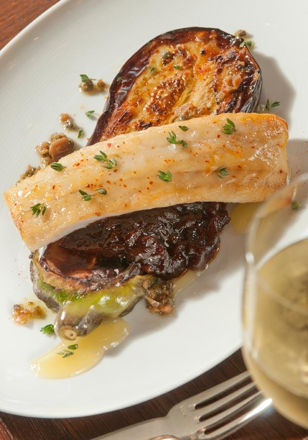 Honey-lavender glazed walleye with eggplant