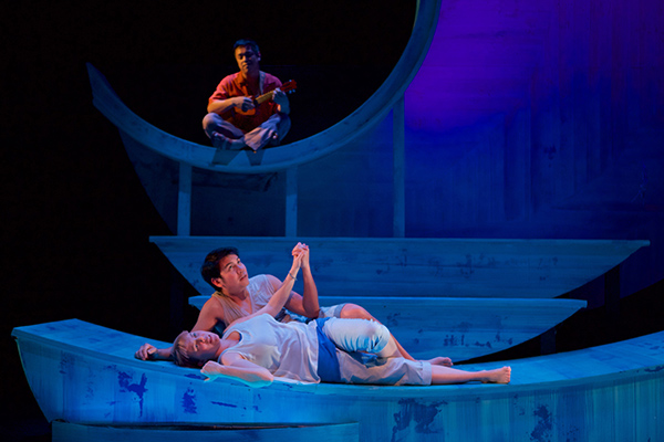 Katy Carolina Collins, George Infantado, and Narciso Lobo in Sideshow Theatre's <i>No More Sad Things</i>