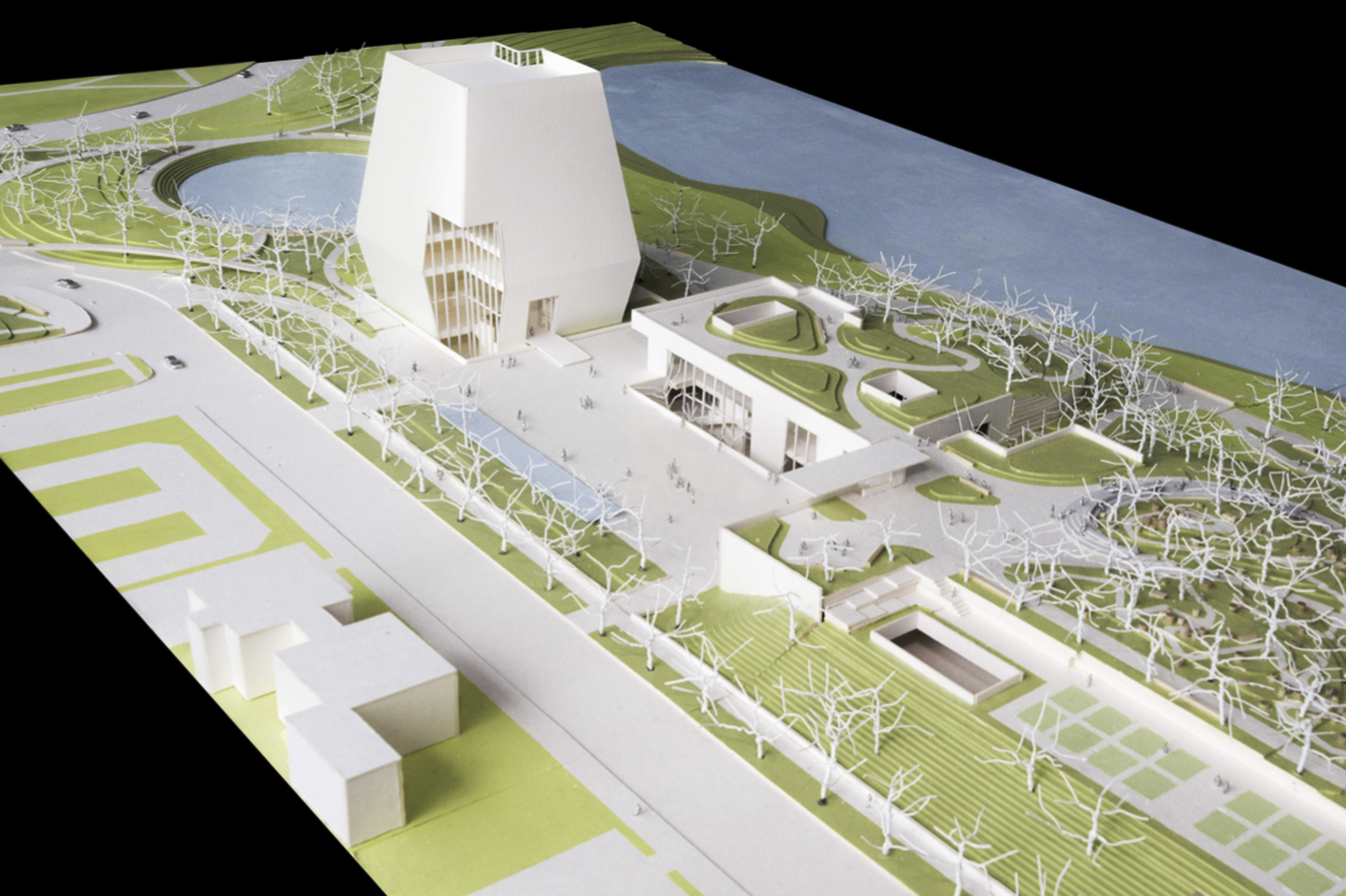 A model shows plans for the proposed Obama Presidential Center. This view looks north showing the museum, forum, and library.