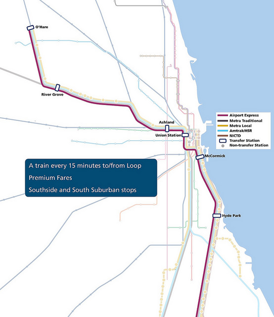 A map of the route for the Midwest High Speed Rail Association's 'CrossRail' proposal.