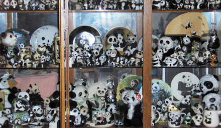 Kirk Kalinski's extensive collection of panda paraphernalia.