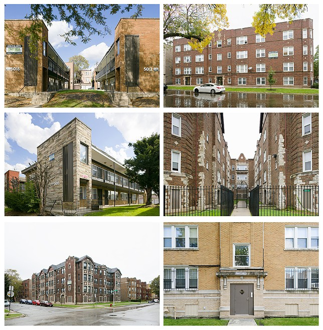 Most of Pangea's holdings are vintage apartment buildings in Black neighborhoods on the south and west side. In some areas the company owns most or all of the mid-sized buildings on a block.