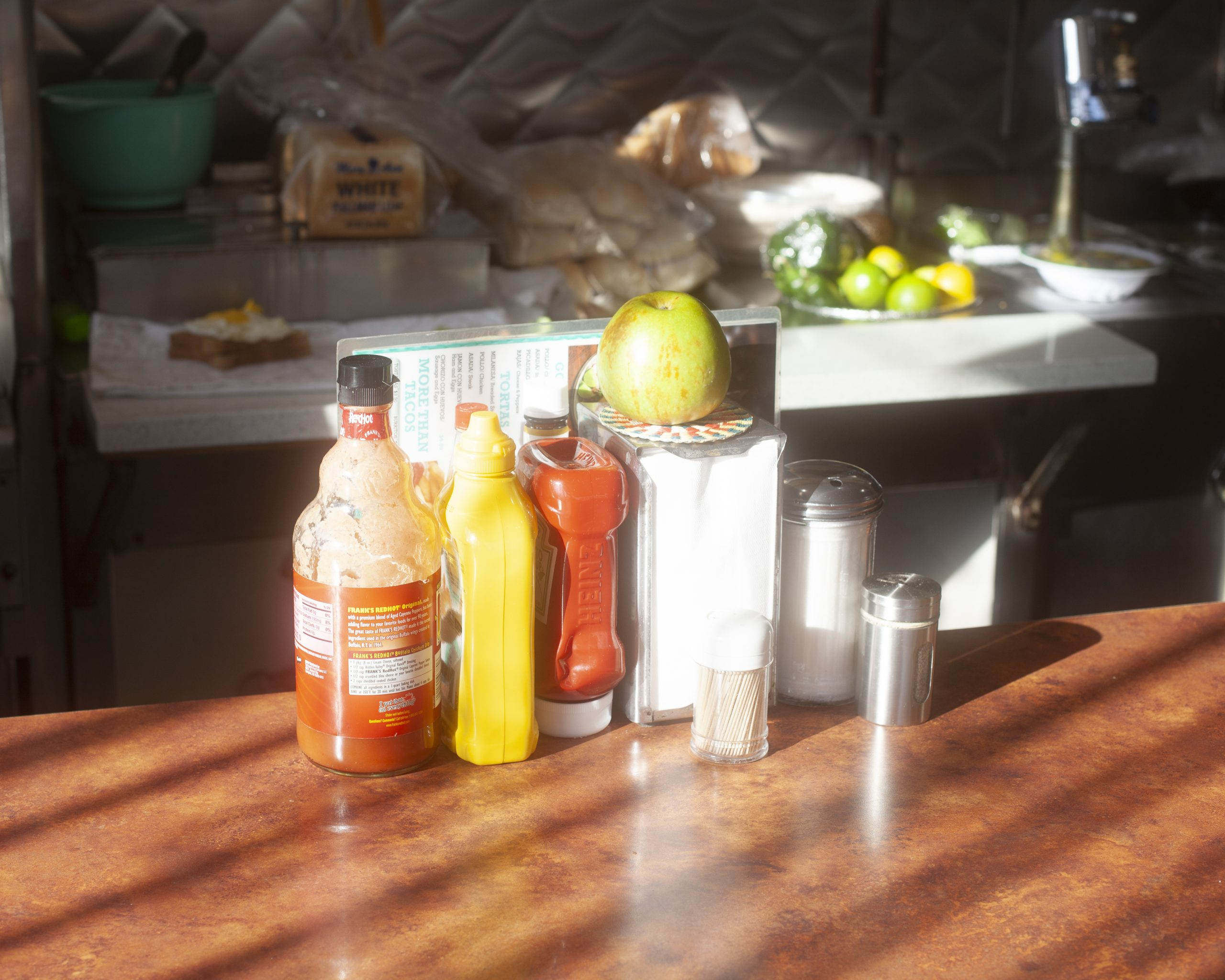 The condiments on the counter at Park View Diner have long gone unused during the pandemic.