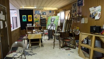 The Ed Paschke Art Center's exhibit space includes a re-creation of the artist's beloved Rogers Park studio.