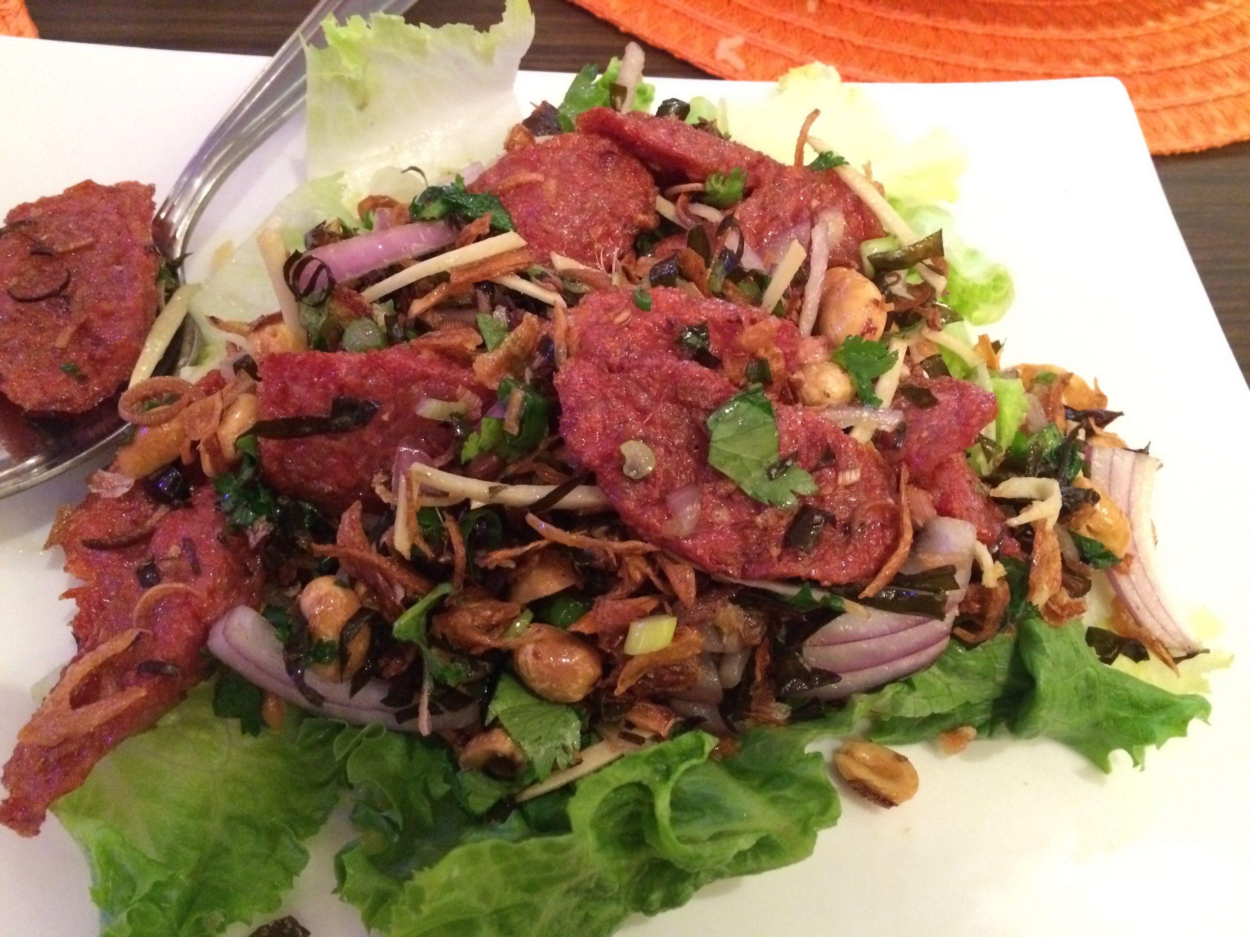 Nam tod sa mun pa (pork preserved herb salad), Paula's Thai Kitchen