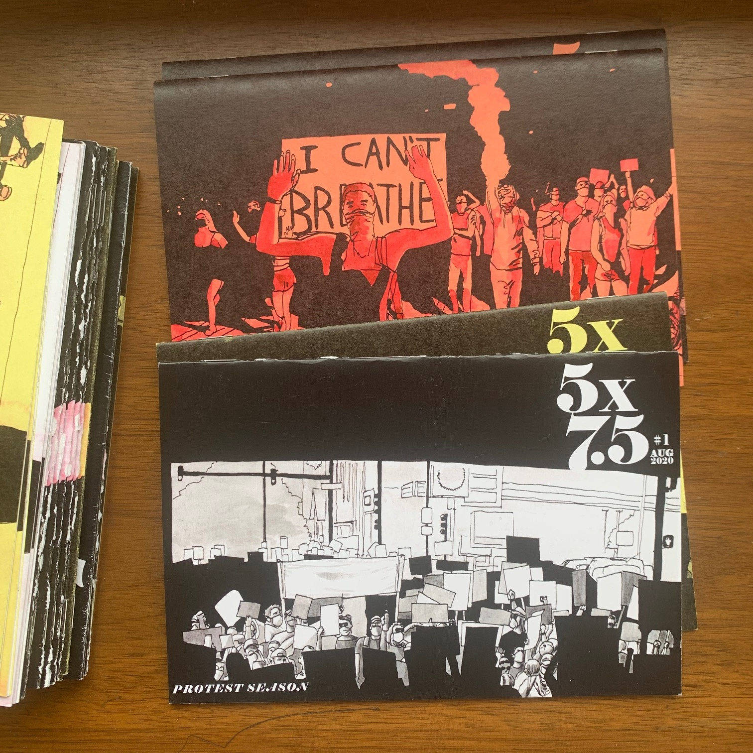 The first issue of Rolando Rodriguez's zine of protest photograph sketches, <i>Protest Season</i>.