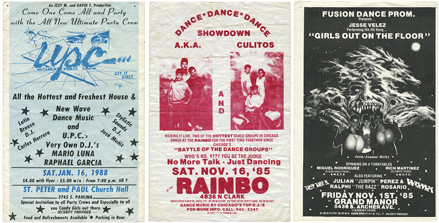 Pluggers from Saints Peter and Paul Church (the first show by the Ultimate Party Crew), Rainbo roller rink, and the Grand Manor (where Rich Martinez and Miguel Rodriguez of Fusion Dance Promotions did a live mix with four turntables)