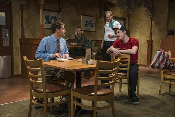 Michael McKeough, Allie Long, Bob Kruse, and Morgan Maher in Griffin Theatre's <i>Pocatello</i>