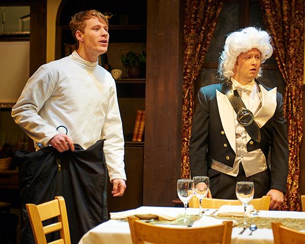 Dash Barber and Christopher Borek in Steep Theatre's <i>Posh</i>