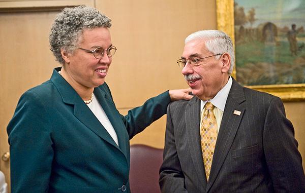 Toni Preckwinkle with Cook County Democratic chairman Joe Berrios