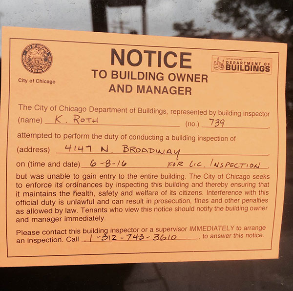A notice from the city building inspector